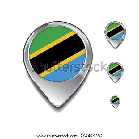 Tanzania flag map pointer. 3d Map Pointer with flag glossy button style on gray background - stock vector