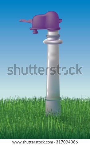 tap column on the lawn - retro equipment to care for your garden