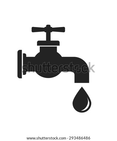 tap faucet black icon with drop - stock vector