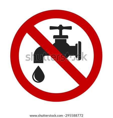 tap faucet stop drop sign - design element - stock vector
