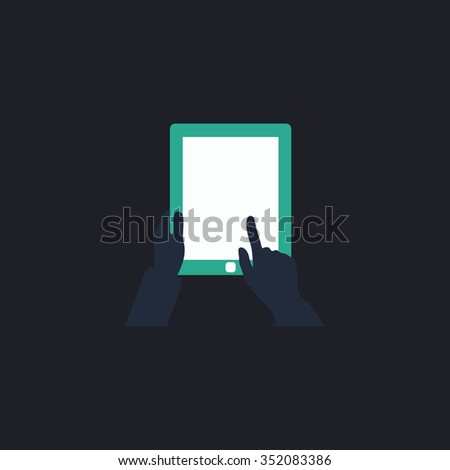 Tap Tablet Color vector icon on dark background - stock vector