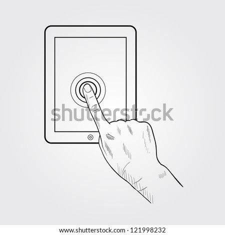 Tap to zoom on tablet - stock vector