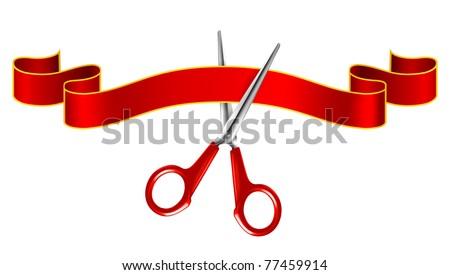 Tape and scissors, vector - stock vector