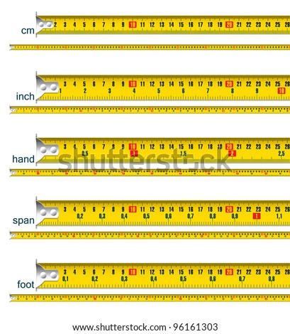 tape measure in cm, cm and inch, cm and hand, cm and span, cm and foot - stock vector