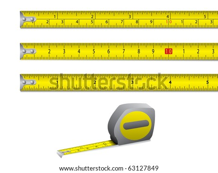Tape measure in inches and centimeters. Vector. - stock vector