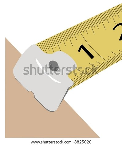 tape measure line up to measure edge - vector - stock vector