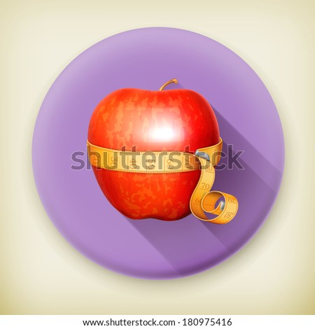 Tape measurement and apple long shadow vector icon - stock vector