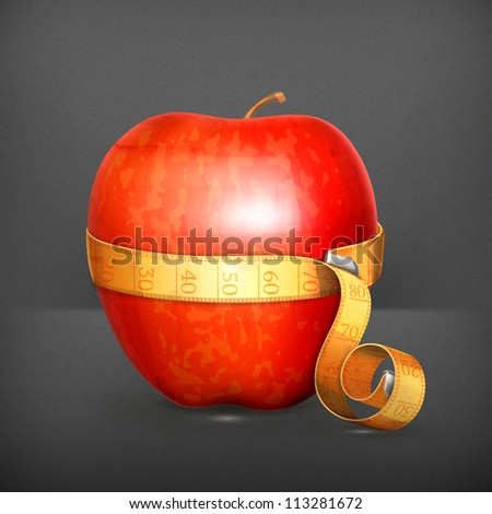 Tape measurement and apple vector - stock vector