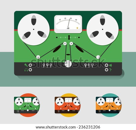 Tape recorder icon.Vector illustration. Eps 10. Color matching for icons. Retro reel tape recorder. Flat design. Old tape design. Musical icons in retro style. Bobbin tape. recorder.  - stock vector