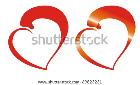 Tape twirled in heart - stock vector