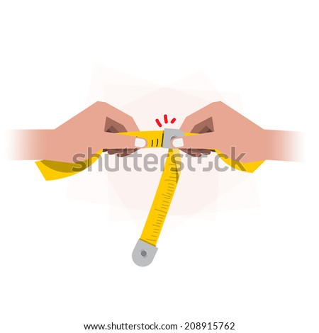 tapeline with hand - stock vector
