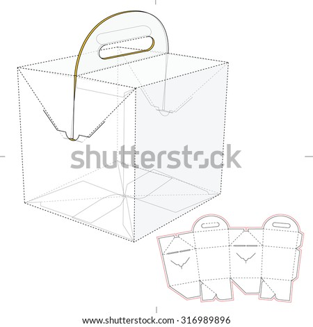 Tapered Square Fast Food Box with Handles and Die Line Template