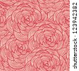 Tapestry floral seamless pattern. Decorative cute background with red roses - stock vector
