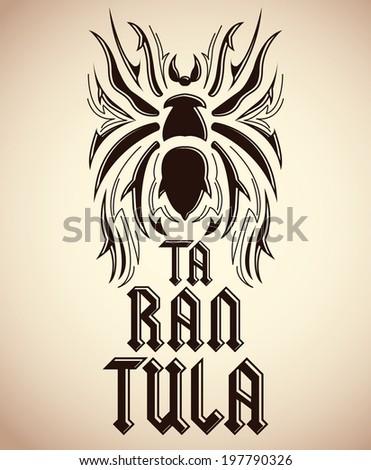 Tarantula tattoo design - spider illustration - vector  - stock vector