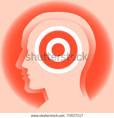 Target. Abstract image of a silhouette of a man's head with the target. Symbolize the goal for knowledge ... - stock vector