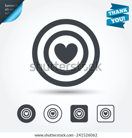 Target aim sign icon. Darts board symbol with heart in the center. Circle and square buttons. Flat design set. Thank you ribbon. Vector - stock vector