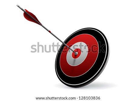 Target and Arrow, Vector Business Icon - stock vector