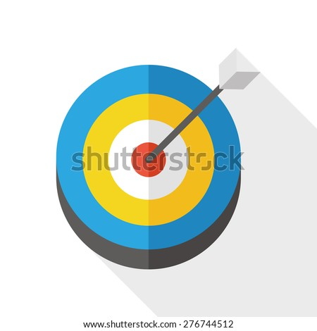 target & arrow flat icon with long shadow - stock vector