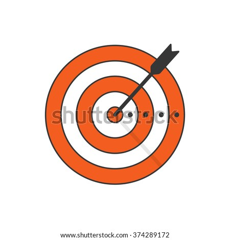 Target arrow vector icon, target symbol concept of goal, business aim, success marketing symbol, shooting range, modern emblem design outline thin line style isolated on white background - stock vector