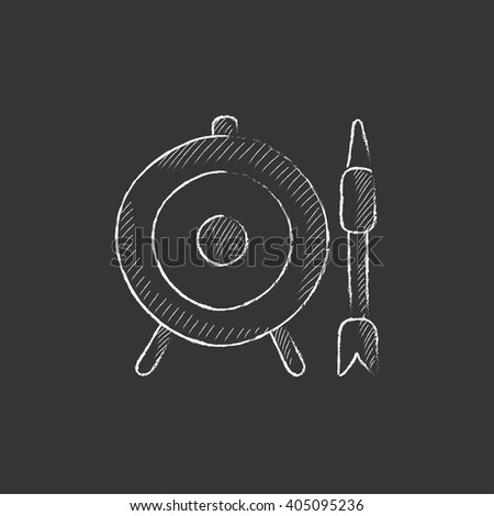 Target board and arrow. Drawn in chalk icon. - stock vector