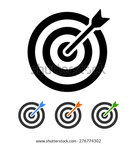 Target (bullseye) with arrow flat icon for apps and websites - stock vector