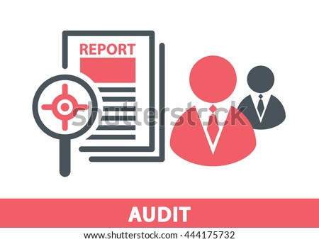 Target icon in magnifier on a report sheet with business man symbol isolated on white, Audit concept. Vector illustration. Logo template design - stock vector