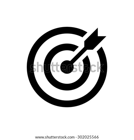 target icon. successful shot in the darts target. isolated on white background. vector illustration - stock vector
