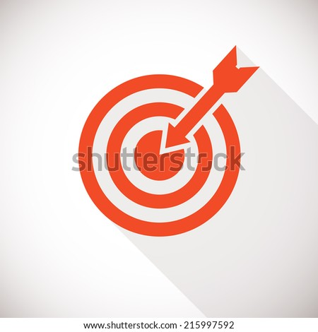 Target icon. Target logo concept with long shadow - stock vector