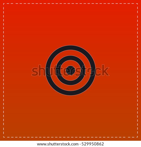 Target Icon Vector. Black flat button on red background