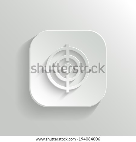 Target icon - vector white app button with shadow - stock vector