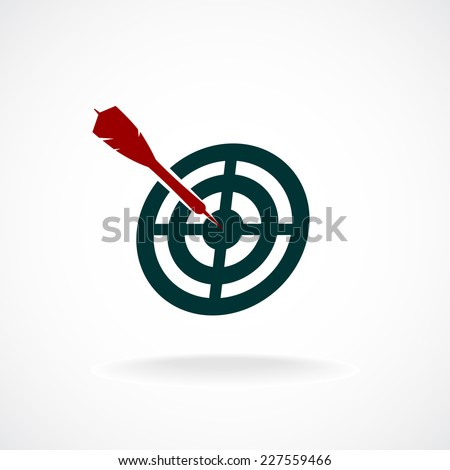Target icon with dart in a center. - stock vector