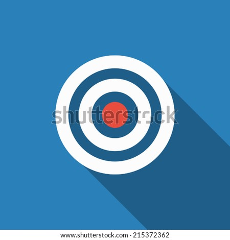 target icon with long shadow - stock vector