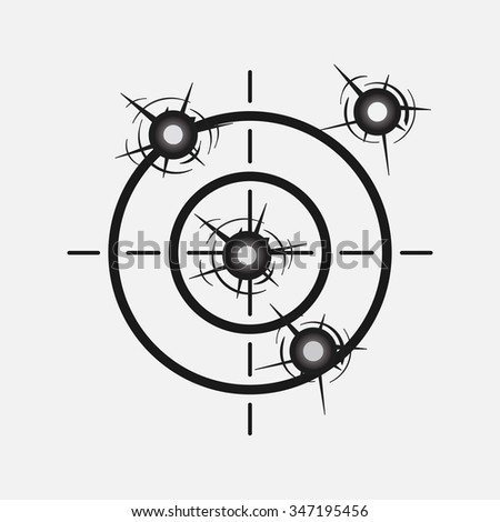 target image with a shot, hitting the target, competition, rivalry, accuracy, study, WAR, fully editable vector image - stock vector
