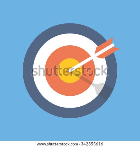 Target marketing icon. Target with arrow symbol. Modern flat design concept for web banners, web sites, printed materials, infographics. Flat vector illustration isolated on blue background - stock vector