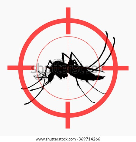 Target on mosquito. Mosquitoes carry many disease such as dengue fever, zika disease, yellow fever, chikungunya disease, filariasis, malaria , enchaphalitits and else. - stock vector