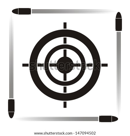 Target practice symbol with target and flying bullets on striped background - stock vector