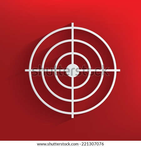 Target symbol on red background,clean vector - stock vector