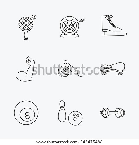 Target, table tennis and fitness sport icons. Skateboard, muscle and bowling linear signs. Ice skates, billiards and gymnastics icons. Linear black icons on white background. - stock vector