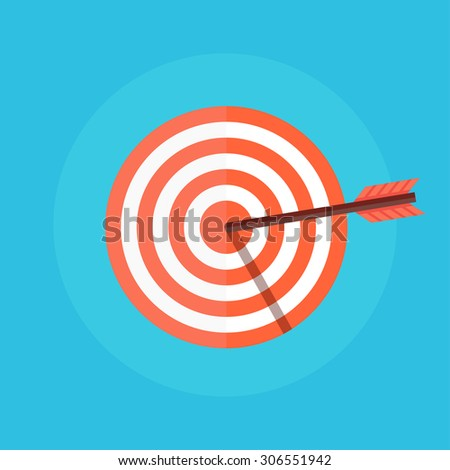 Target vector icon in a flat style. Concept target market, audience, group, consumer.  Bullseye or goal Isolated sign. Illustration of a target with an arrow.  - stock vector