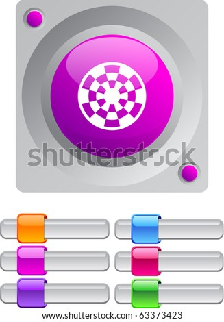 Target vibrant round button with additional buttons. - stock vector