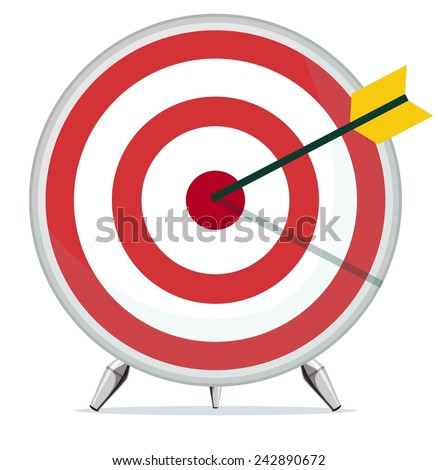 Target with an Arrow in the Center. Stock Vector illustration