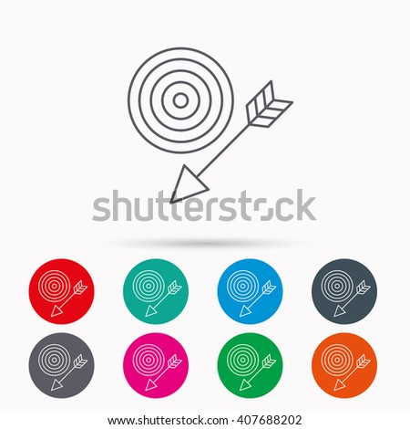 Target with arrow icon. Dart aim sign. Linear icons in circles on white background. - stock vector