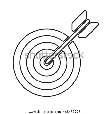 target with arrow outline icon vector stock illustration