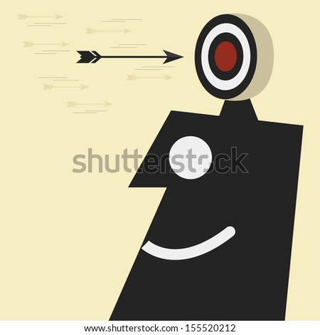 Target with arrows on head - stock vector