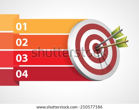 Target with arrows with graphic informations - Vector illustration - stock vector