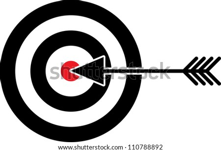 Target with red centre and arrow in the middle - illustration - stock vector