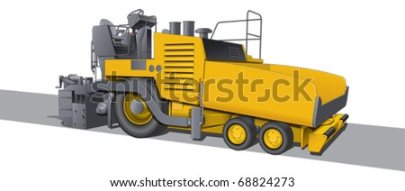 Tarmac road laying machine - stock vector