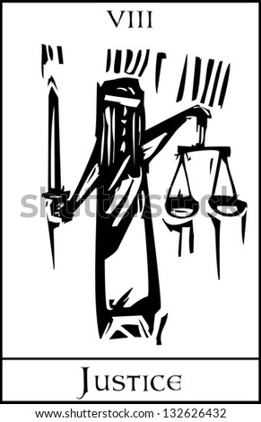 Tarot Card Major Arcana image of Justice - stock vector