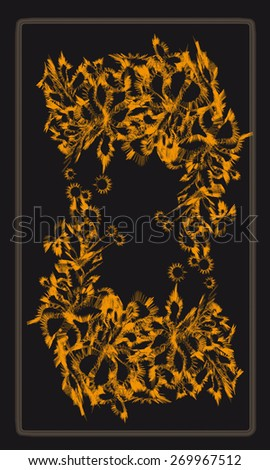 Tarot cards - back design, floral pattern - stock vector