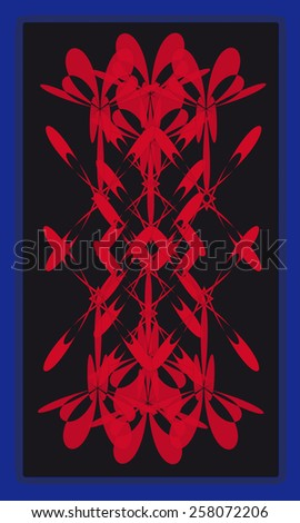 Tarot cards - back design, red abstract pattern - stock vector